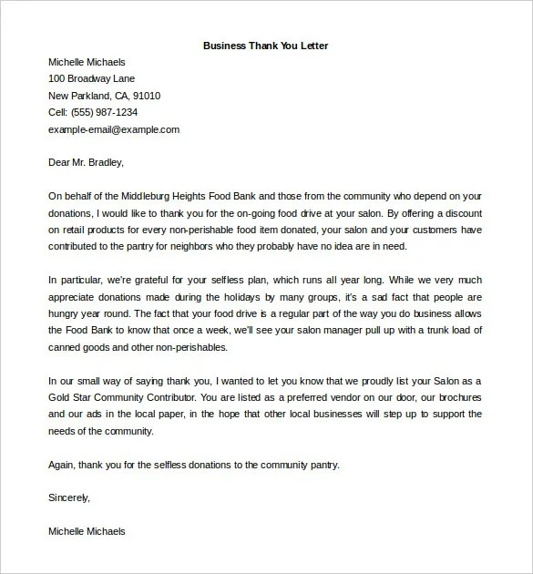 thank you letter for business support - Kordurmoorddiner