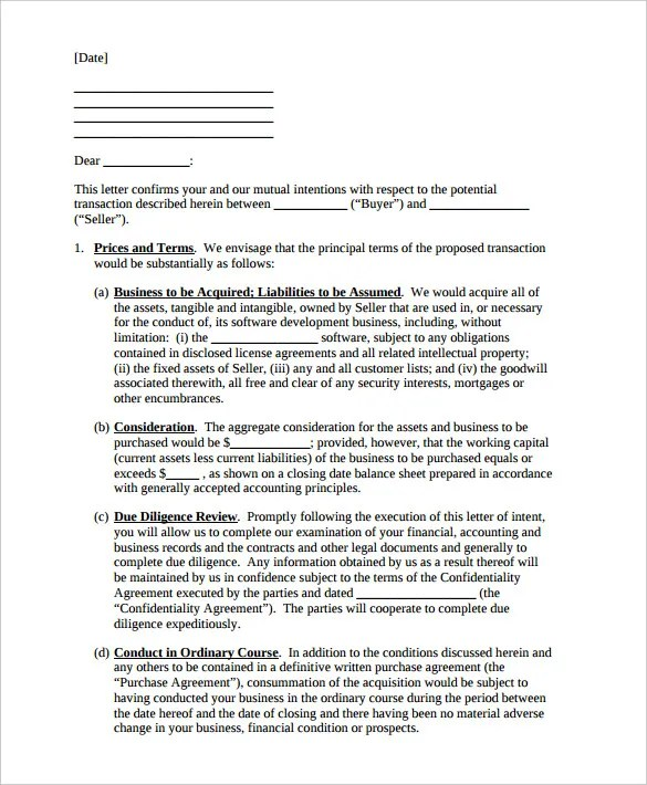 9+ Letter of Intent Templates \u2013 Free Sample Example Format Download