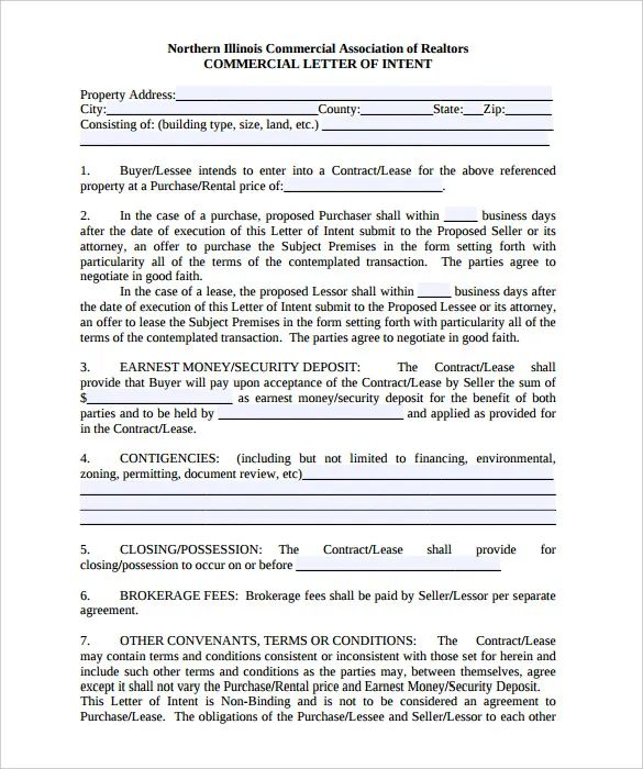 intent to lease template