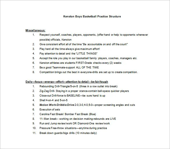 Basketball Practice Plan Template - 3 Free Word, Pdf, Excel