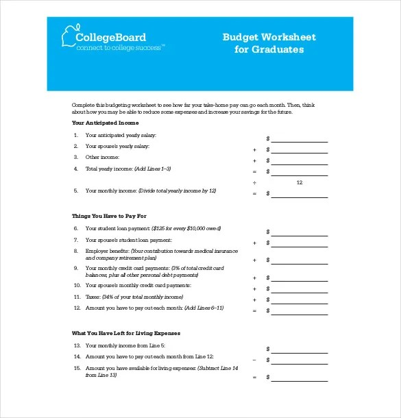 10+ College Budget Templates \u2013 Free Sample, Example, Format Download