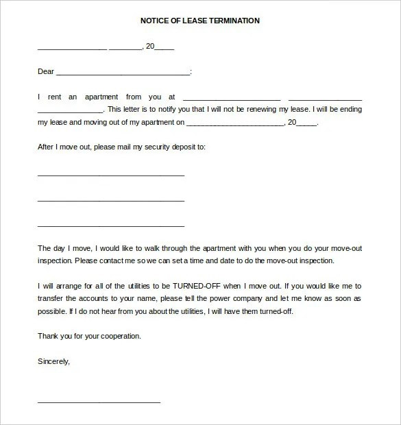 11+ Termination Letter Templates - Free Sample, Example Format - lease termination letter example
