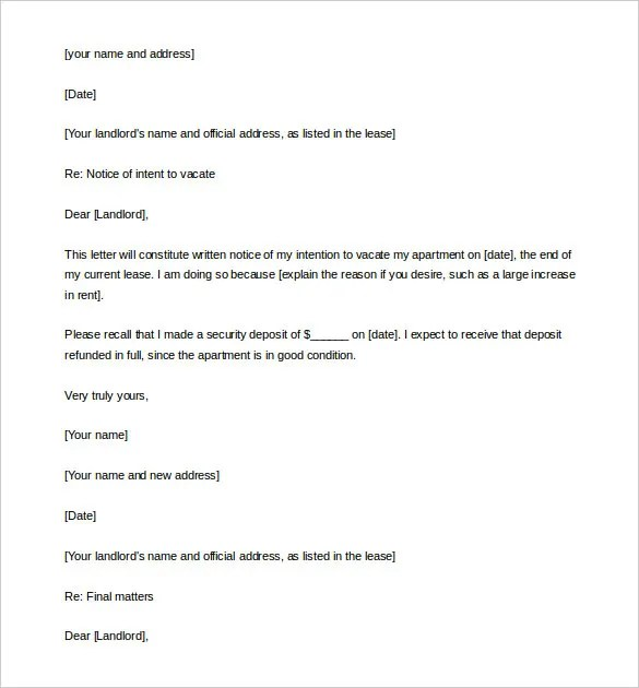 free lease termination letter