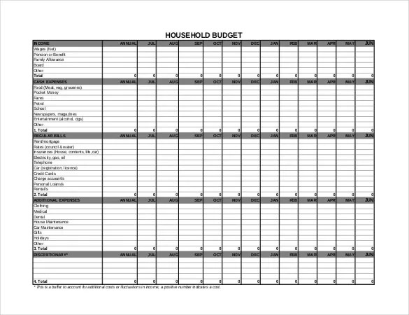 10+ Household Budget Templates \u2013 Free Sample, Example, Format - free household budgets