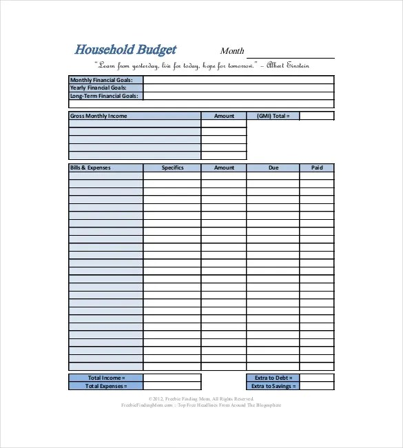 10+ Household Budget Templates \u2013 Free Sample, Example, Format - sample monthly budget template