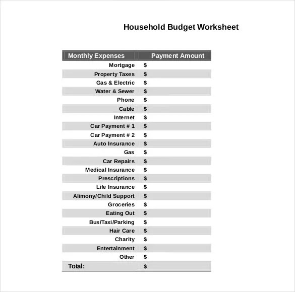 10+ Household Budget Templates \u2013 Free Sample, Example, Format