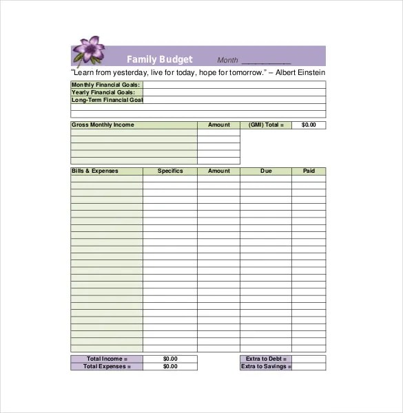 8+ Family Budget Templates \u2013 Free Sample, Example, Format Download - Sample Budget Template