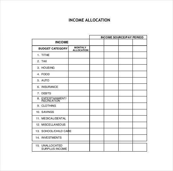 printable family budget template