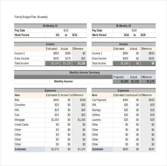 8+ Family Budget Templates \u2013 Free Sample, Example, Format Download - family budget template