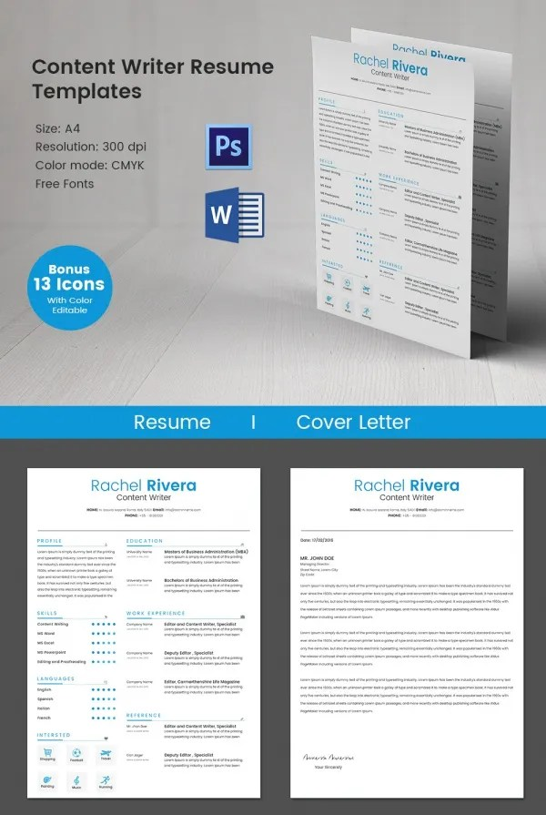 Writer Resume Template \u2013 24+ Free Samples, Examples, Format Download - content writer resume