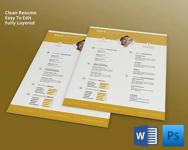 51+ Creative Resume Templates \u2013 Free PSD, EPS Format Download Free