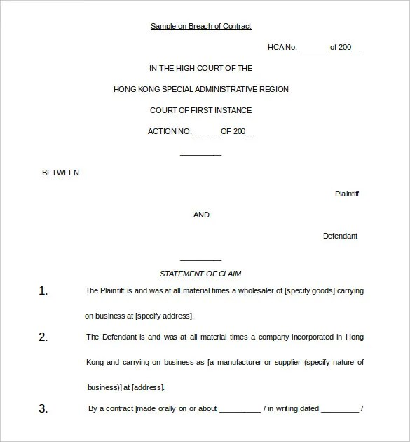 Sample Breach Of Contract Complaint Examples Of Notice 13 Demand Letter Templates – Free Sample Example Format