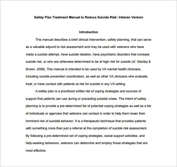 Sample Safety Manual Template 13+ treatment plan templates - free