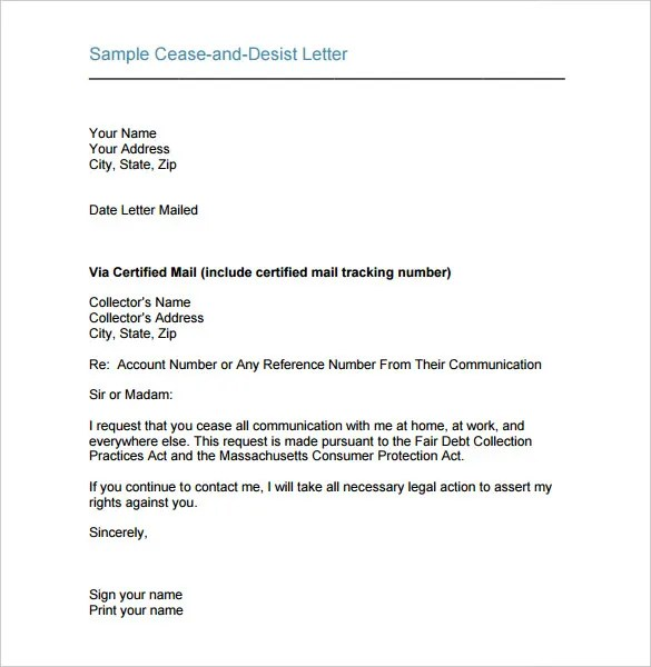 Cease and Desist Letter Template - 16+ Free Sample Example Format - Cease And Desist Letter Sample