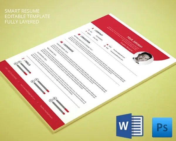 PSD Resume Template \u2013 51+ Free Samples, Examples, Format Download - Free Graphic Design Resume Templates