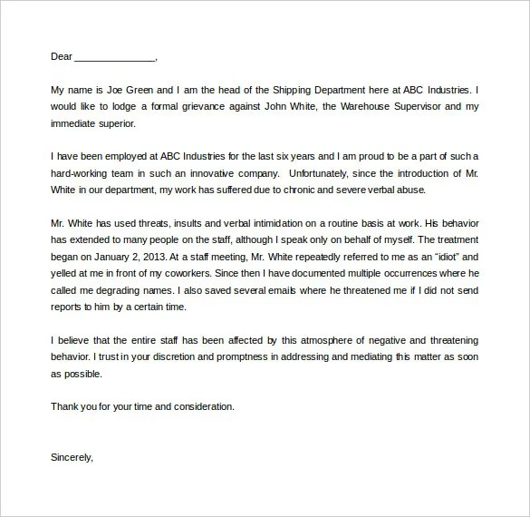 Complaint letter examples resume templateasprovider 12 complaint letter templates u2013 free sample example format complaint letter examples spiritdancerdesigns Images