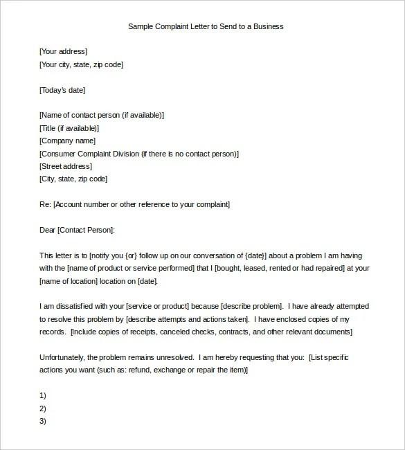 12+ Complaint Letter Templates u2013 Free Sample, Example Format - business complaint letter format