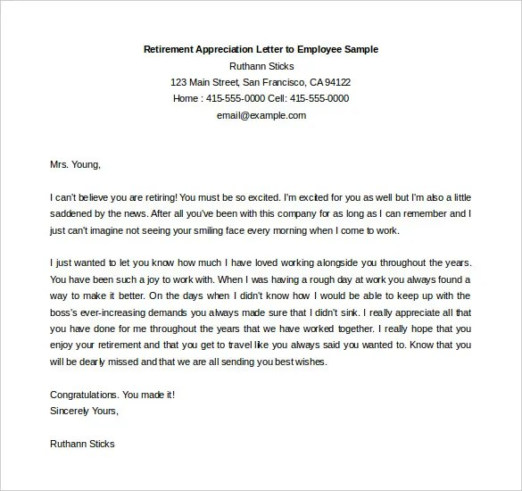 Employee Appreciation Letter Doc | How To Make A Resume Sound Good