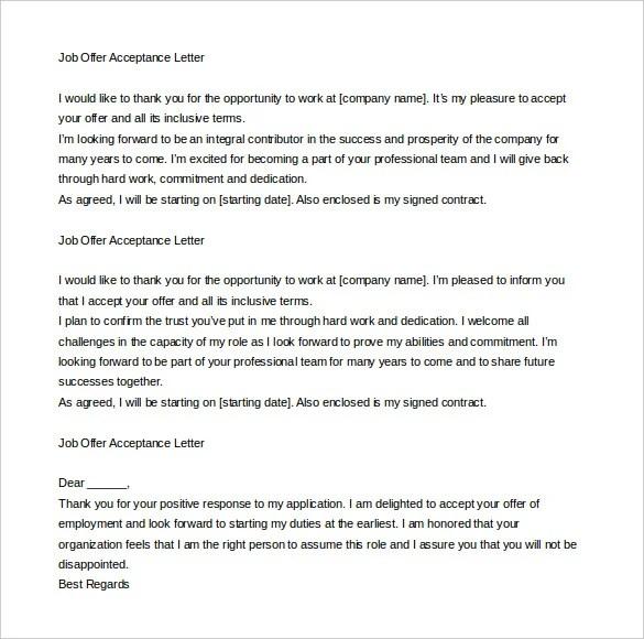 acceptance letter for offer letter - Ozilalmanoof