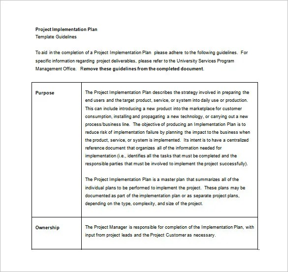 Implementation Plan Template \u2013 8+ Free Word, PDF Documents Download - implementation plan templates