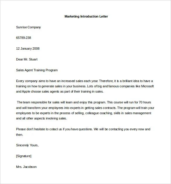 introductory letter template