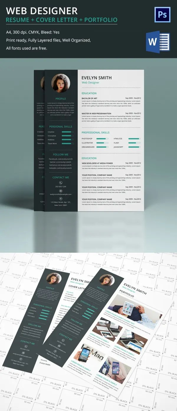 Download Cover Letter For Resume Web Designer Resume + Cover Letter + Portfolio Template