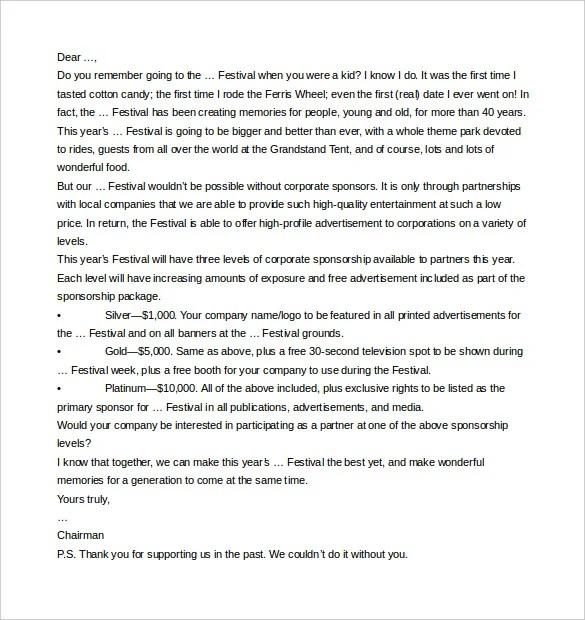45+ Sponsorship Letter Templates - PDF, DOC Free  Premium Templates - example sponsor letter