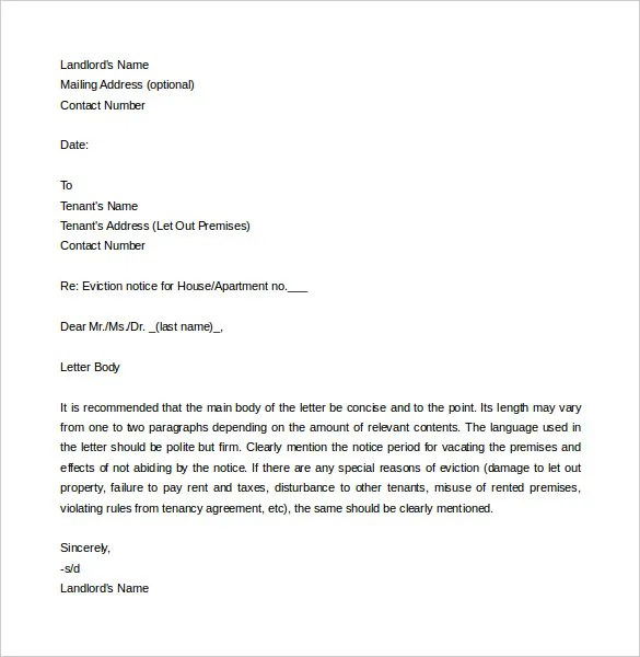 6+ Eviction Letter Templates \u2013 Free Sample, Example Format Download - eviction letter templates