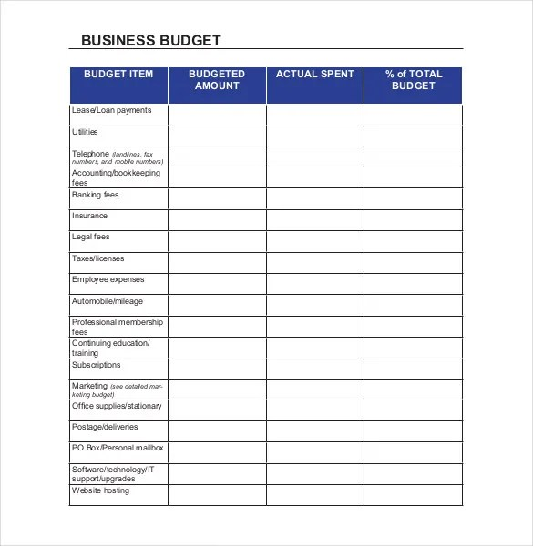 business budgeting worksheets - Towerssconstruction