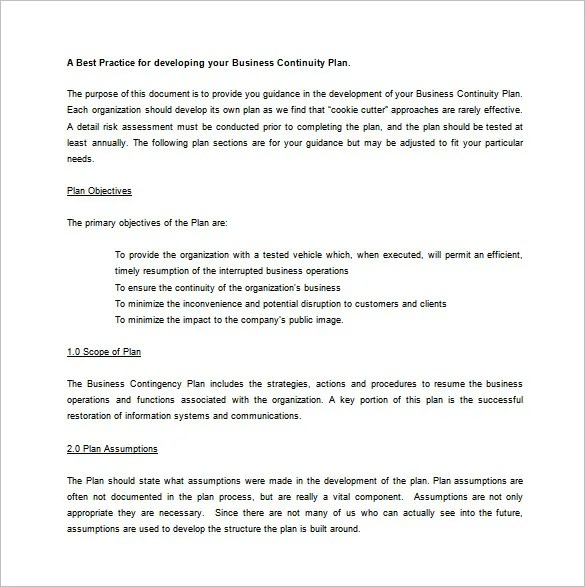 Contingency Plan Template \u2013 9+ Free Word, PDF Documents Download - contingency plan example