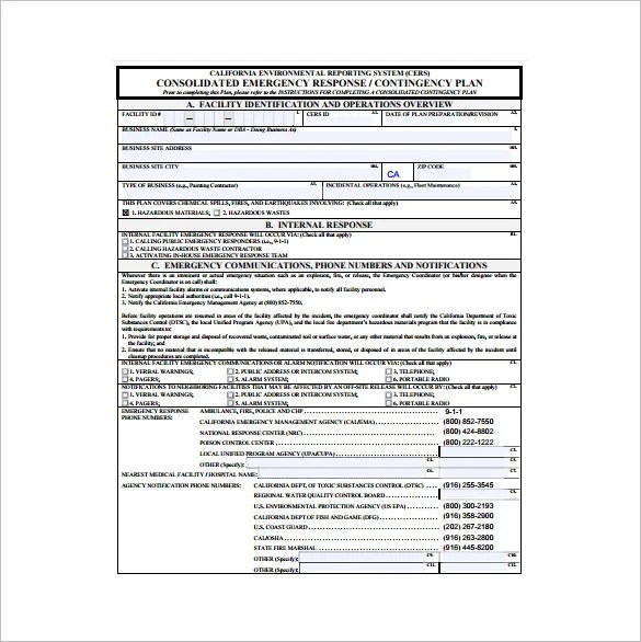 Contingency Plan Template \u2013 9+ Free Word, PDF Documents Download