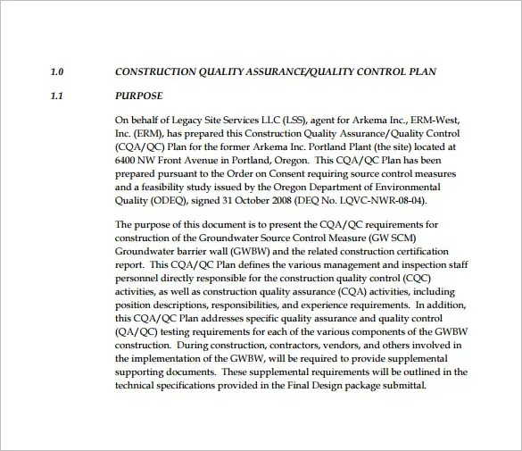 Quality Control Plan Template - 7+ Free Word, PDF Documents Download - quality control plans