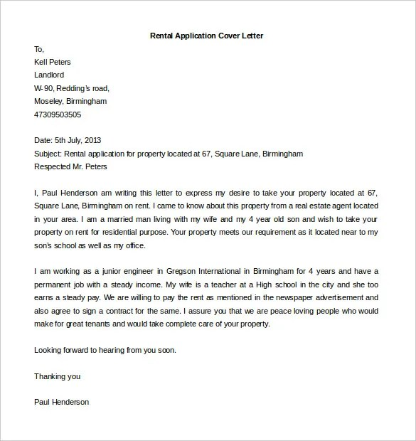 rental application cover letter example - Onwebioinnovate - cover letter example for job application
