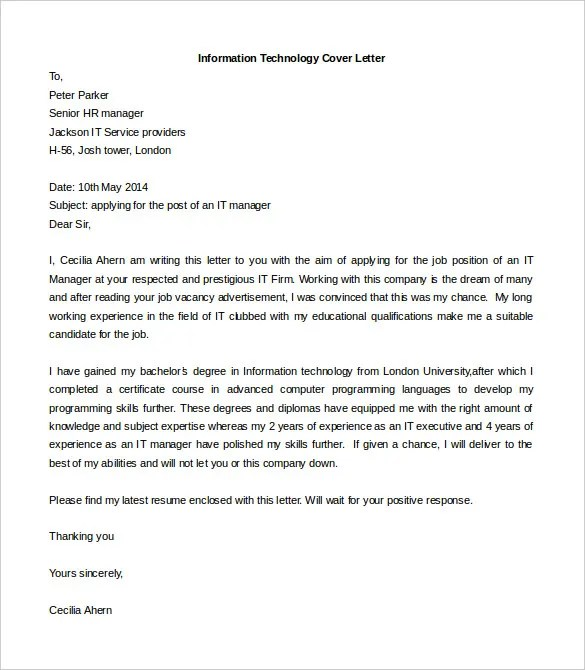 Cover Letter Format In Word - Cover Letter Template