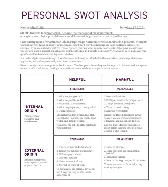 Personal SWOT Analysis Template - 13+ Free Word, Excel, PDF - swot ysis template doc