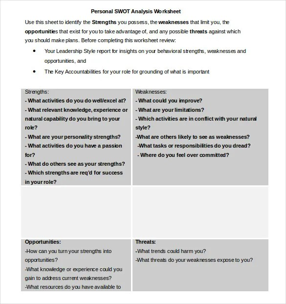 swot analysis spreadsheet - Onwebioinnovate - swot ysis template doc