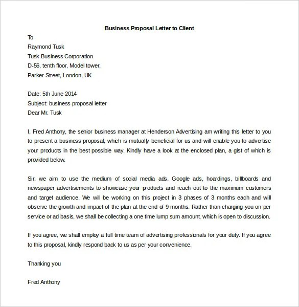 Formal Proposal Letter Business Proposal Template 05 30+ Business - client proposal sample