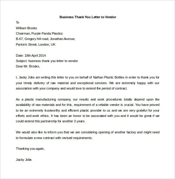 Examples Of Business Thank You Letters For A Vendor Business Letter Template 44 Free Word Pdf Documents