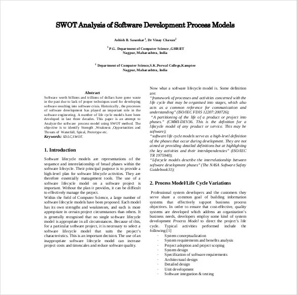Project Management SWOT Analysis - 8+ Free Word, Excel, PDF - sample project analysis