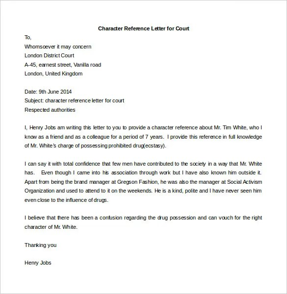 Personal Reference Letters Character Reference Letter Sample For - character reference letter sample for job