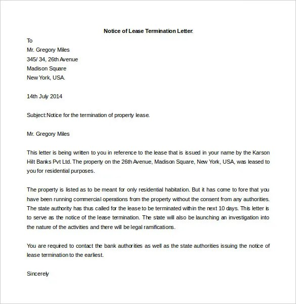 Free Termination Letter Template - 14+ Free Word Documents Download - free termination letter