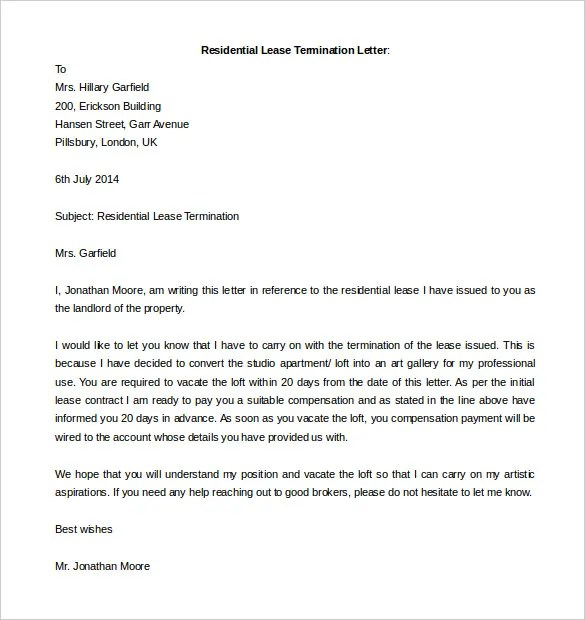 free termination letter