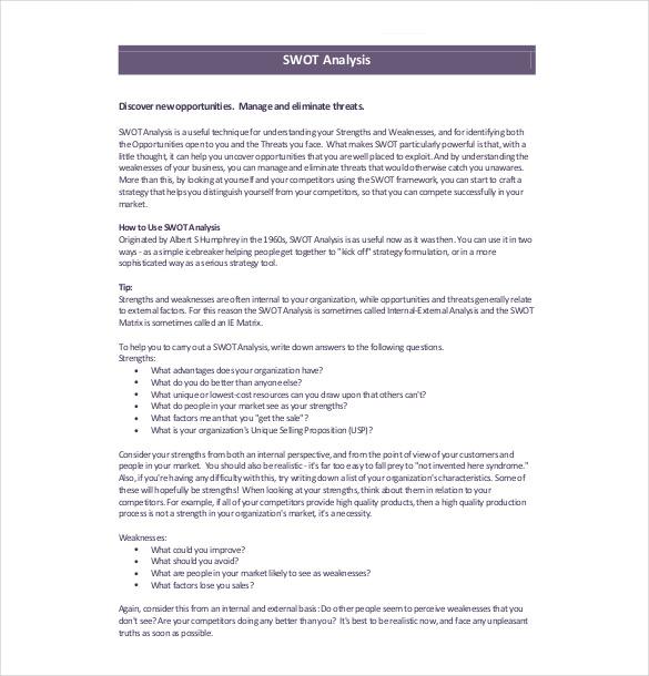 10+ Marketing SWOT Analysis Templates \u2013 Free Sample, Example, Format