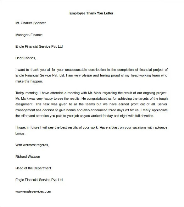 Free Thank You Letter Templates u2013 40+ Free Word, PDF Documents - thank you note to employee