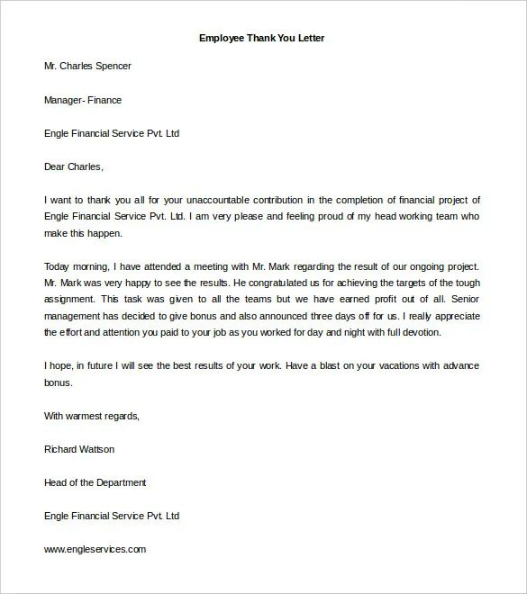 letter of appreciation from boss to employee