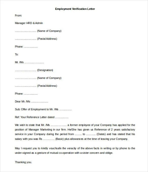 Free Employment Letter Template \u2013 28+ Free Word, PDF Documents - examples of employment verification letters
