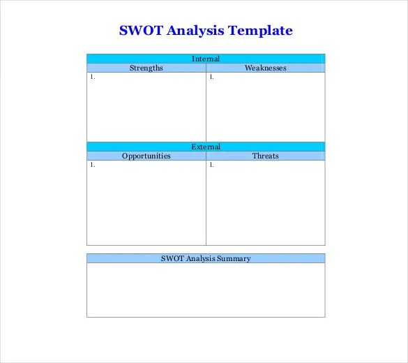 6+ Blank SWOT Analysis Templates - Free Sample, Example, Format - format for swot analysis