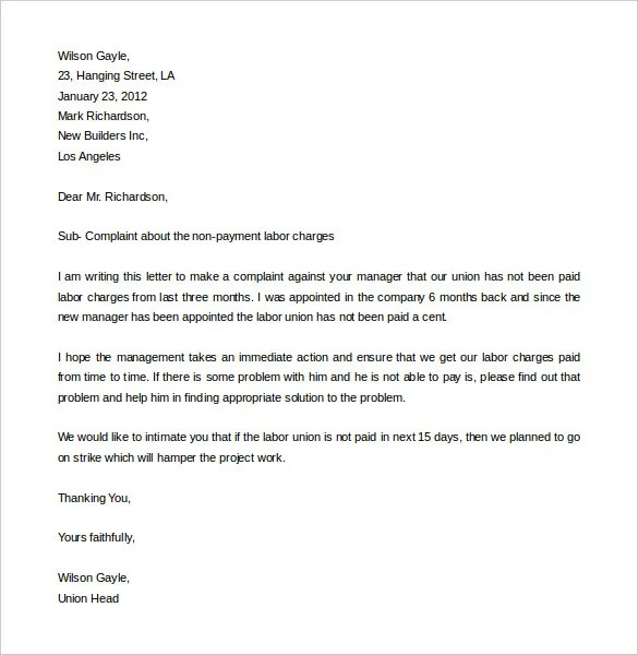 Free Complaint Letter Template u2013 20+ Free Word, PDF Documents - business complaint letter format