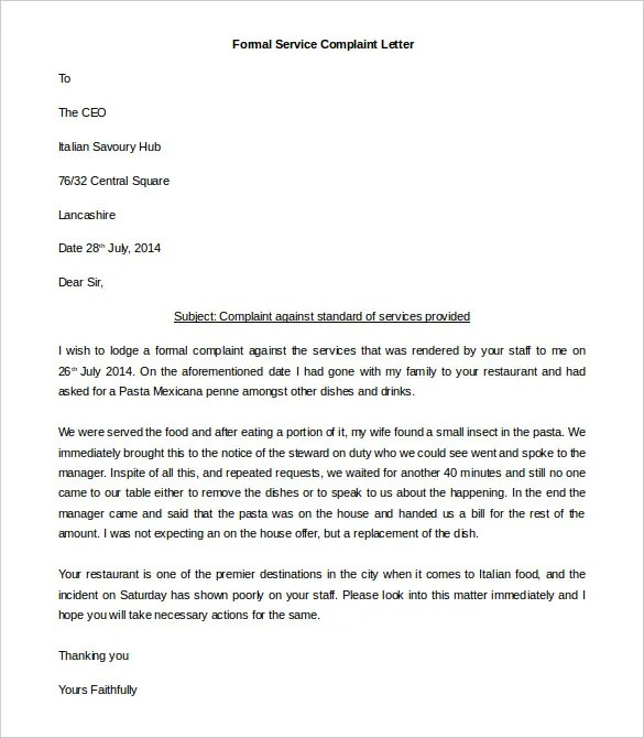 29+ Free Complaint Letter Templates - PDF, DOC Free  Premium - complaint letter template word