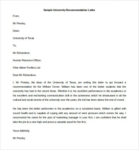 Employee Recommendation Letter Sample Related For Job